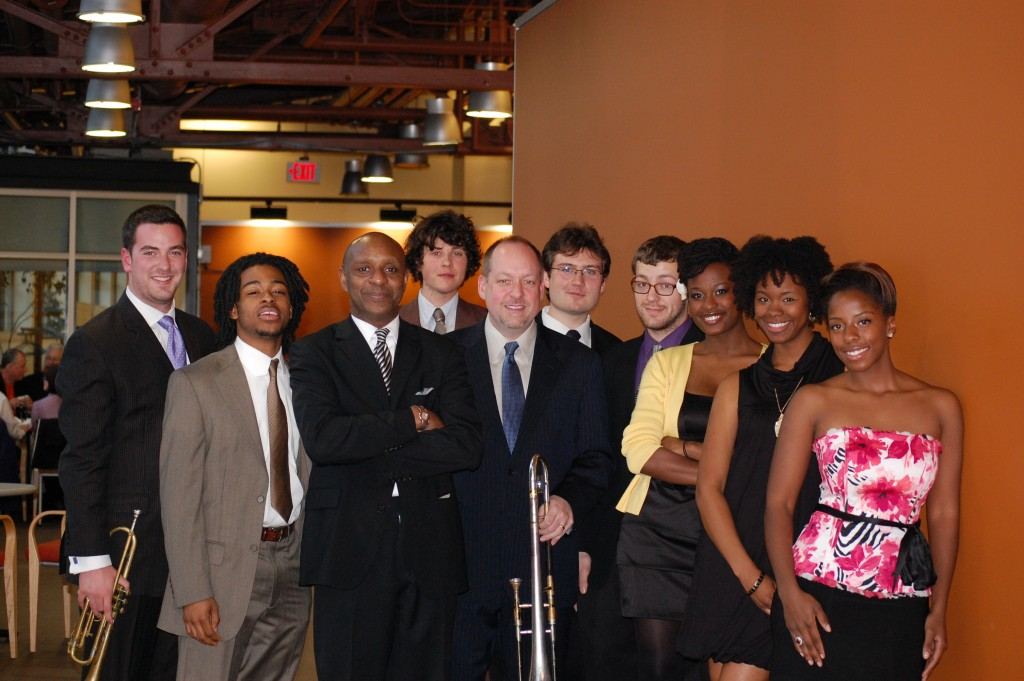 Nat Reeves with Steve Davis and students